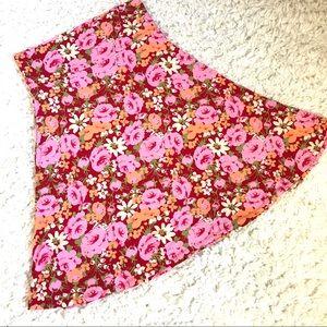 Red & Pink Floral LuLaRoe Azure Skirt